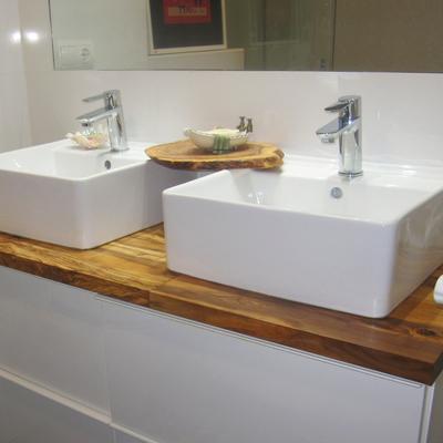 Bancada dupla para casa-de-banho