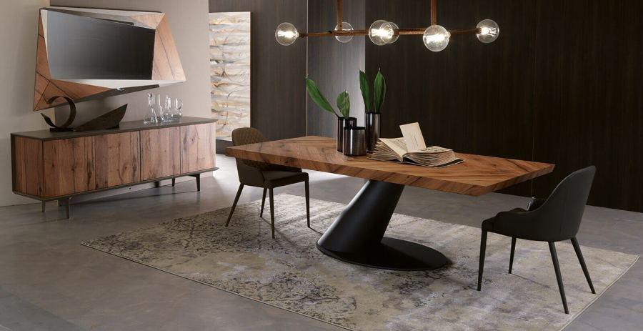 Decoração de sala de jantar moderna com fabrico de móveis por medida