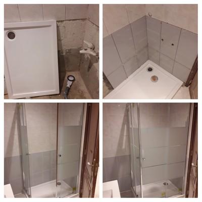 Remoção de banheira, aplicação de revestimento cerâmico e base de duche com box