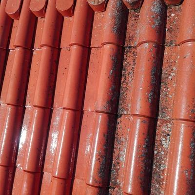 Antes e depois de telhado
