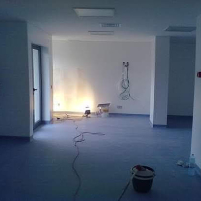 Hall acentamento piso vinilico hospital