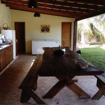 Construção de cozinha na área externa.