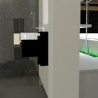 Simulação 3D de parte da casa de banho e cozinha.