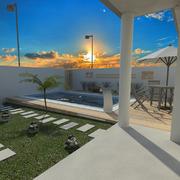 Projeto da piscina com deck elevado