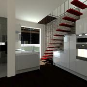 Simulação 3D de escada de acesso á mezzanine e cozinha.