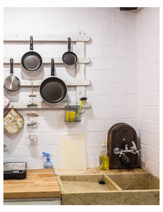 A pia da cozinha