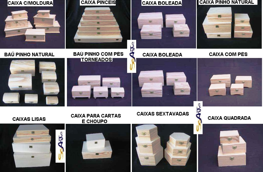 Caixas madeira diversas