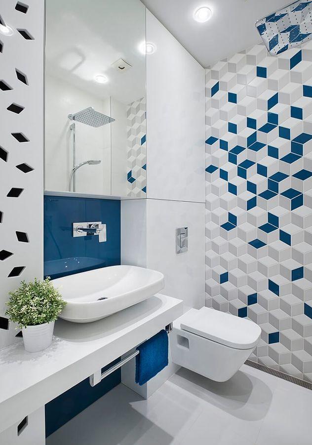 Cinza, branco, azul e geometria