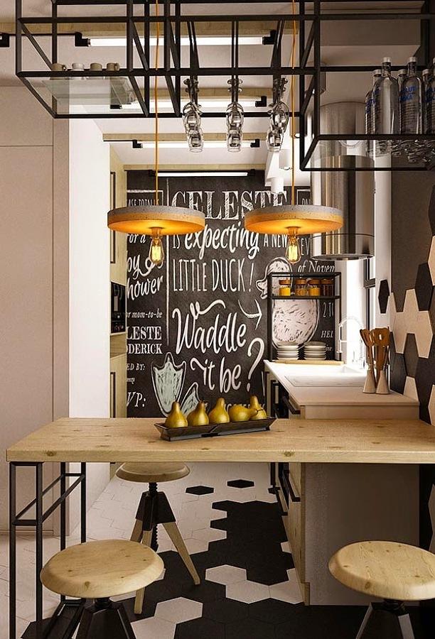 Cozinhas abertas e o toque industrial