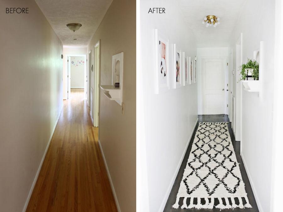 O antes e depois de 5 halls de entrada ideias decora o for Corredor deco blanco y gris
