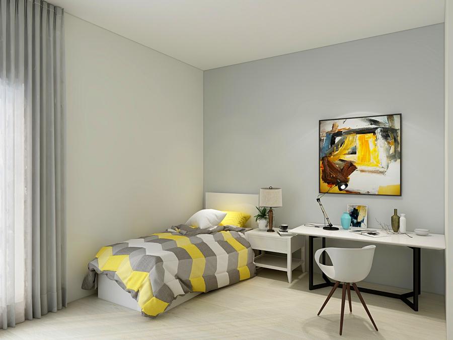 Proposta em desenho 3D quarto individual