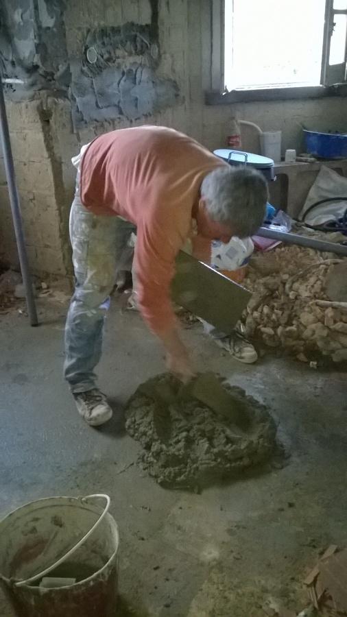 salpicos de argamassa cimenticias