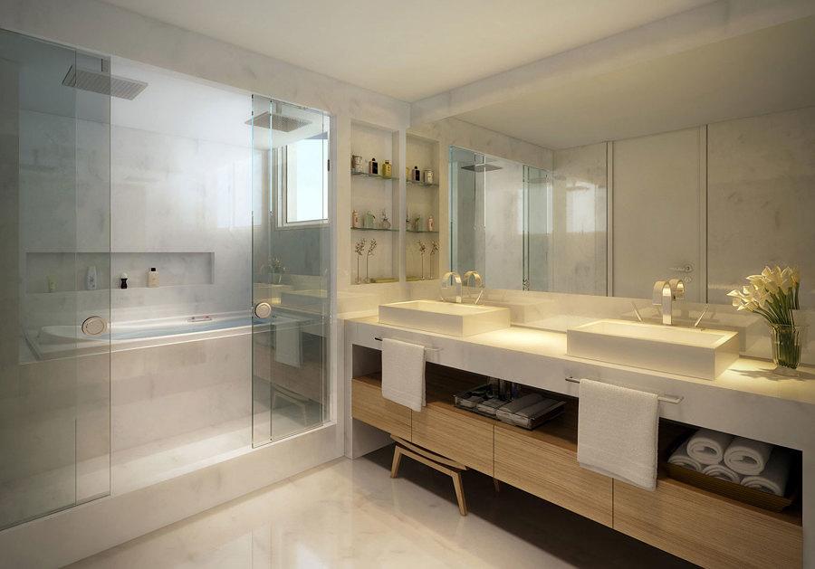 vidro no banheiro