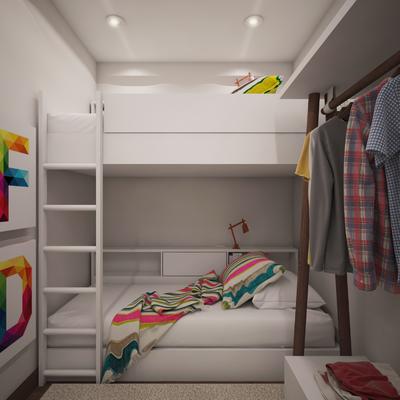Projeto de Design de Interiores - compartimento pequeno - conversão em quarto