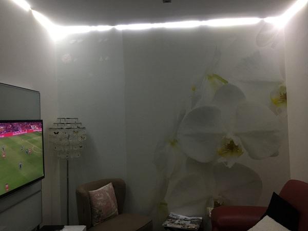 Coloquei um papel de parede na parede da sala que tem a flor de uma orquídea. Dá profundidade à sala que é pequena. Contudo não ocupa a parede toda.  Ficou uma faixa de cerca de 1 metro sem papel. O que é que eu faço a este espaço?
